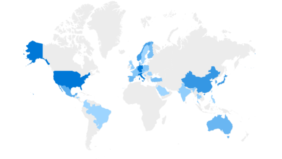 A map showing non-English-speaking Google Calendar Archiver installs dominate worldwide.